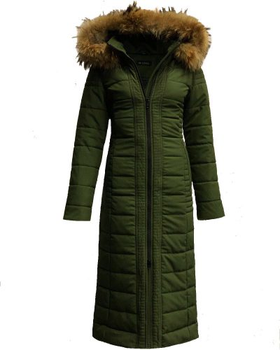 Lange dames winterjas groen met afneembaar  bontkraag-Moskow bestellen