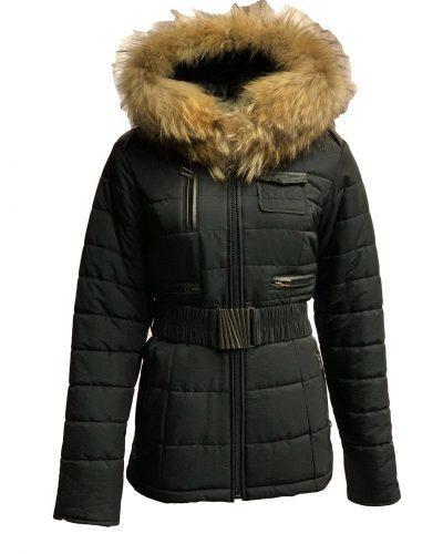 Winter dames jas met bontkraag zwart Lucia bestellen