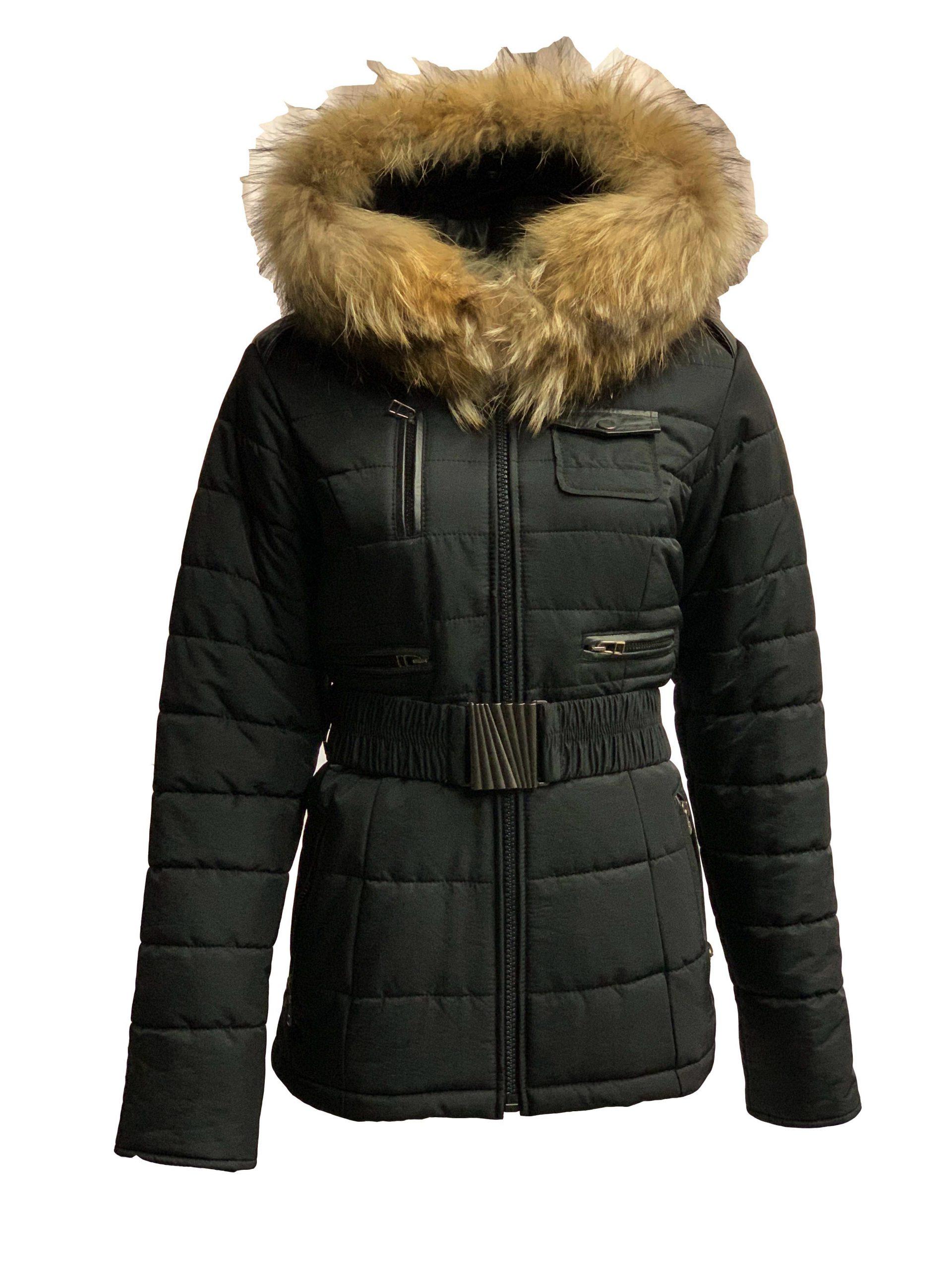 Winter dames jas met bontkraag zwart Lucia