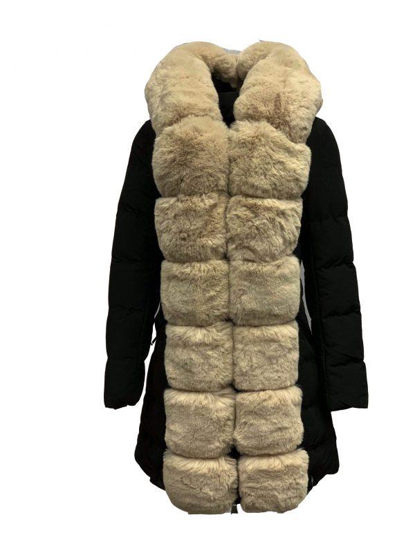 Winter jas parka met bontkraag zwart -lama bestellen