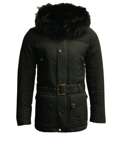 Zwart heren jas met bontkraag-Alito bestellen