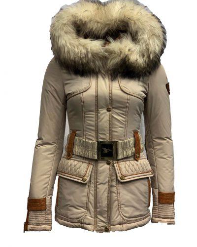 Frocella  dames jas met bontkraag beige-attila bestellen
