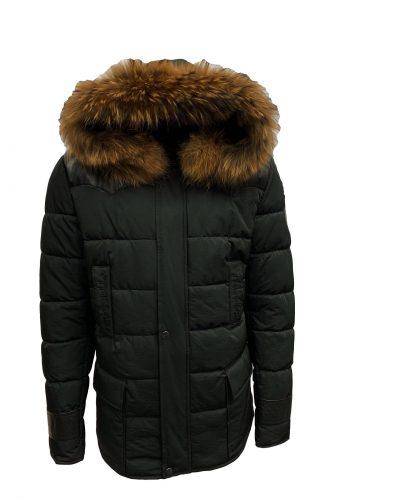 Heren jas zwart met bontkraag-Pariso bestellen