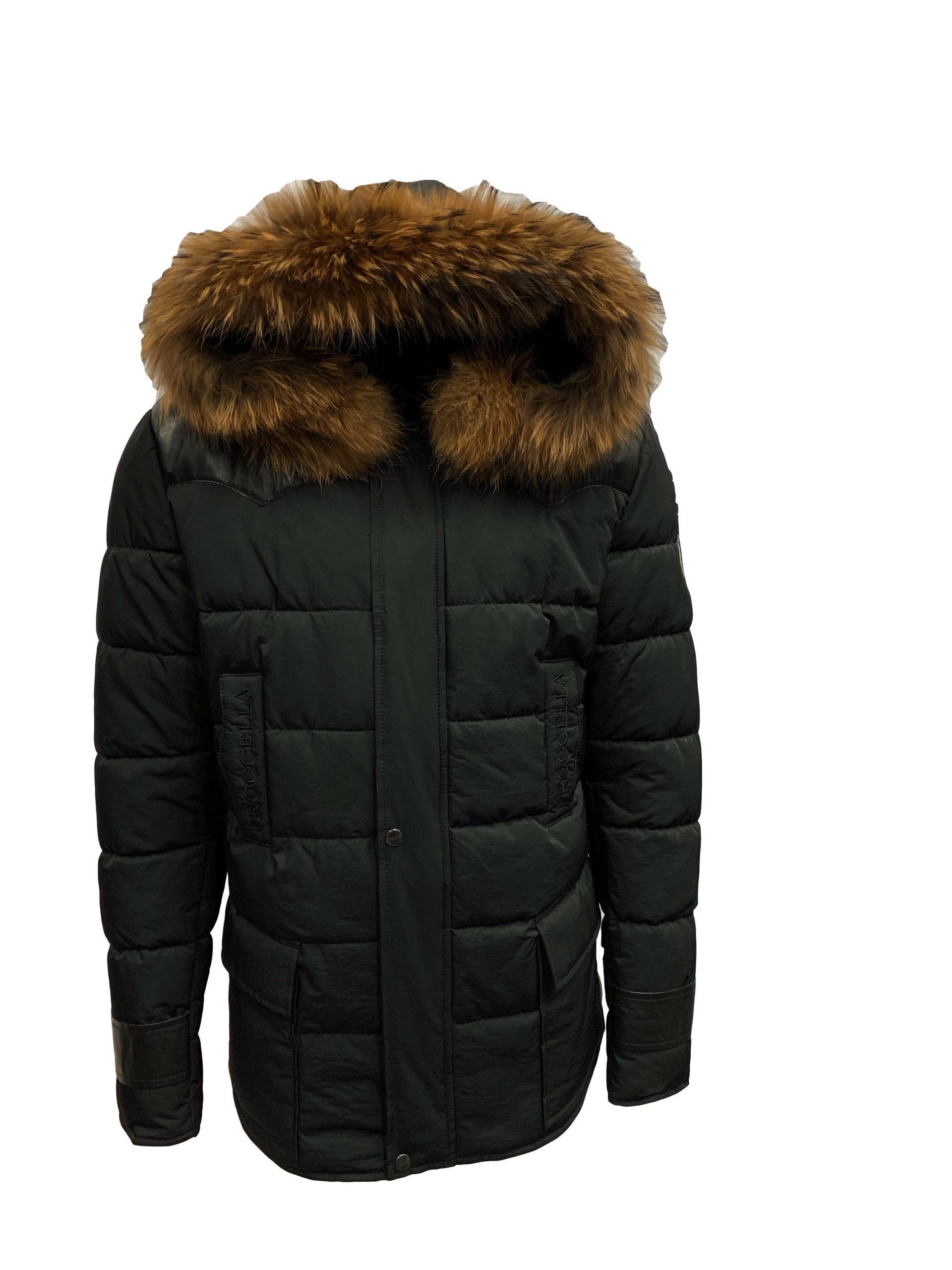 Heren jas zwart met bontkraag Pariso