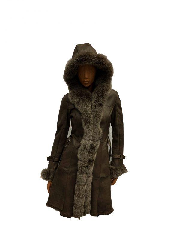 Bruin lange Dames Lammy Coat – Met 100% echt bont-ratana bestellen