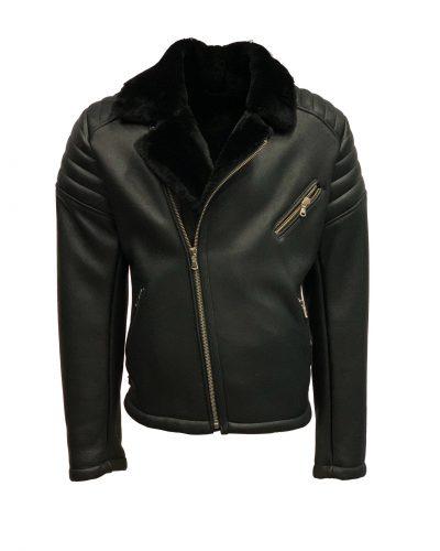 Heren echt lams lammy coat biker zwart -torado bestellen