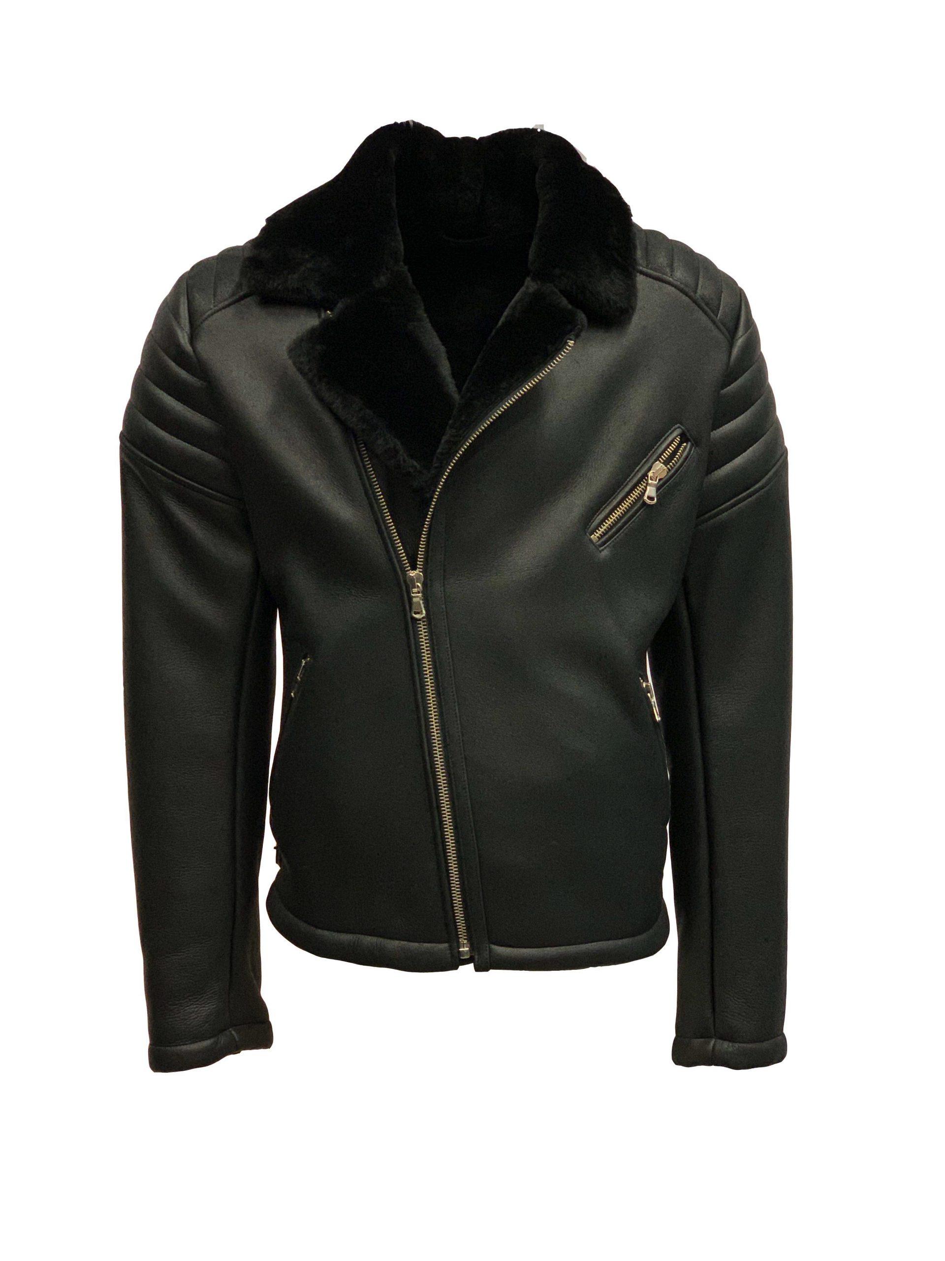 Heren echt lams lammy coat biker zwart torado