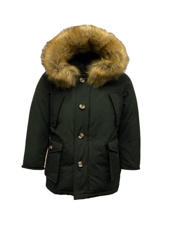 Airforce jongens jas met bontkraag 4 pocket zwart bestellen