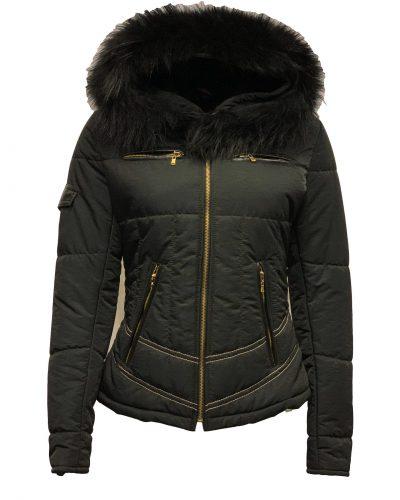 Dames winter jas zwart met bontkraag- Roxana bestellen