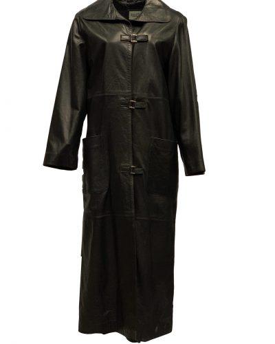 Lange leren jas dames zwart tot de knie-korfita bestellen