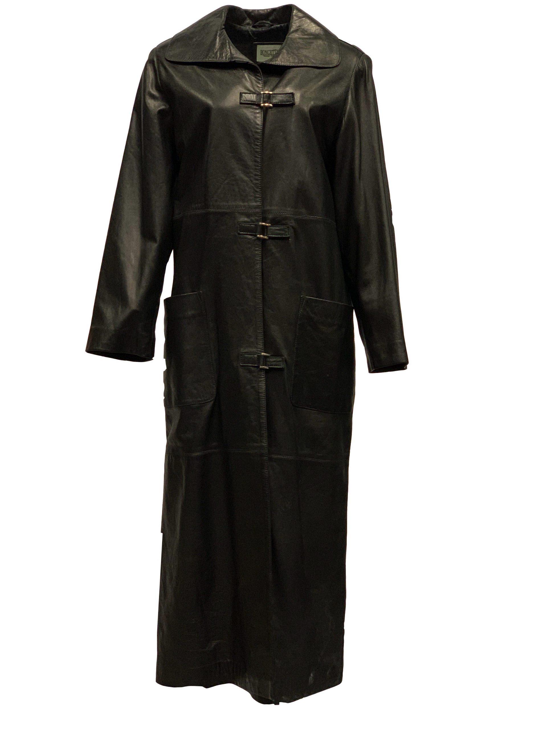 Lange leren jas dames zwart tot de knie-korfita