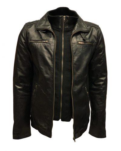 Zwarte Leren heren jas met uitneembare kraag – 100% echt leer-Albert bestellen