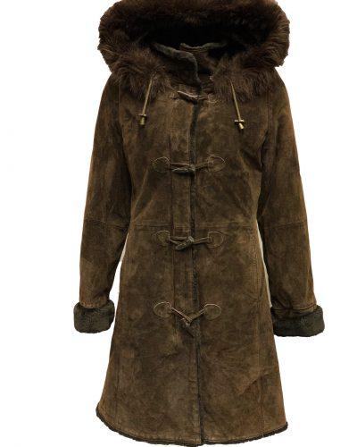 Leren dames suede jas met bontkraag bruin-Hera bestellen