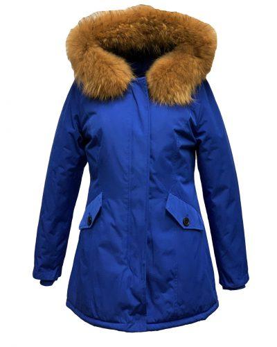 Dames winter jas met bontkraag blauw- Canada bestellen