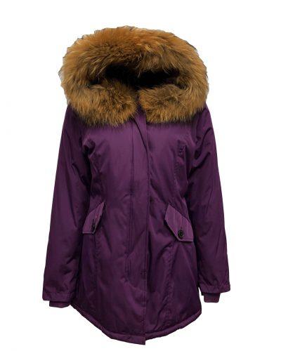 Dames paarse winterjas met echte bontkraag -Canada bestellen