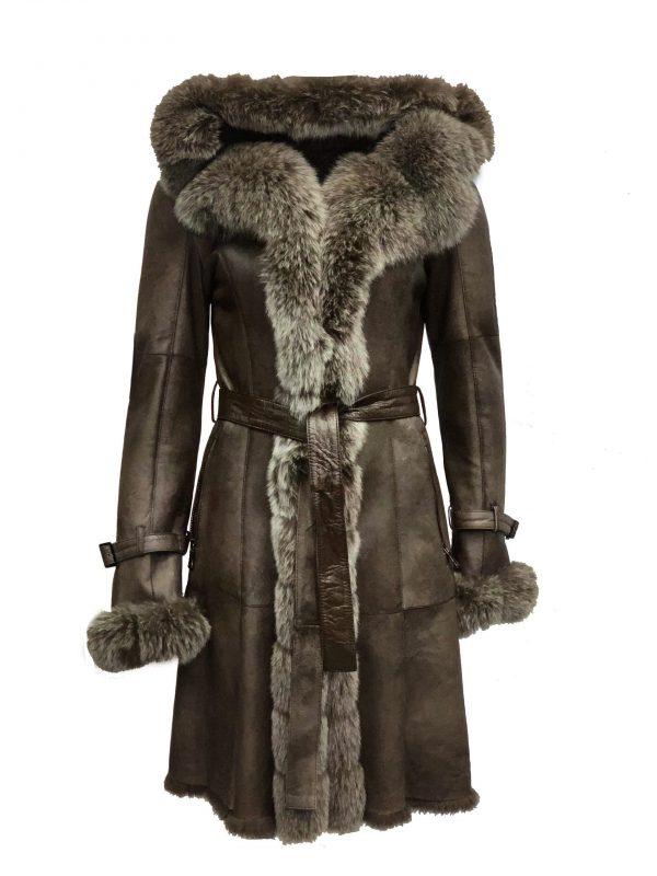 Bruin lange Dames Lammy Coat – Met 100% echt bont-Bonita bestellen