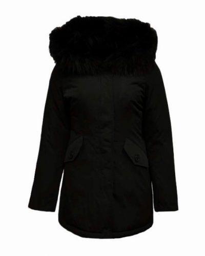 Winter dames jas met bontkraag zwart TT-canada bestellen