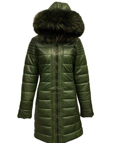 Dames winter jas met bontkraag echt leren groen-oslo bestellen