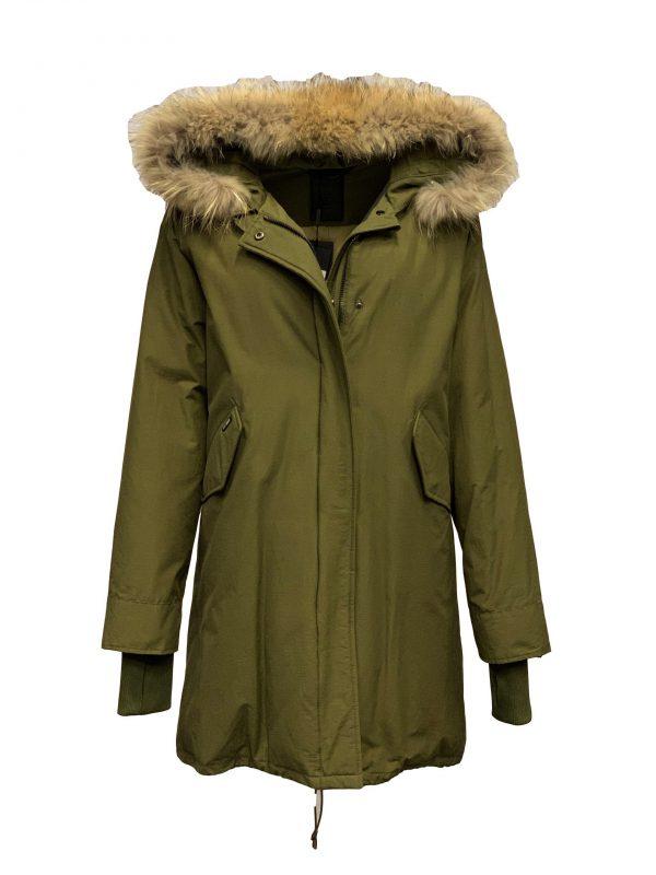 Dames jas met Bontkraag AirForce – Fishtail Army groen bestellen