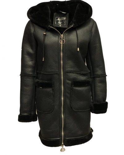 Dames lammy coat  kunst zwart- nataan bestellen