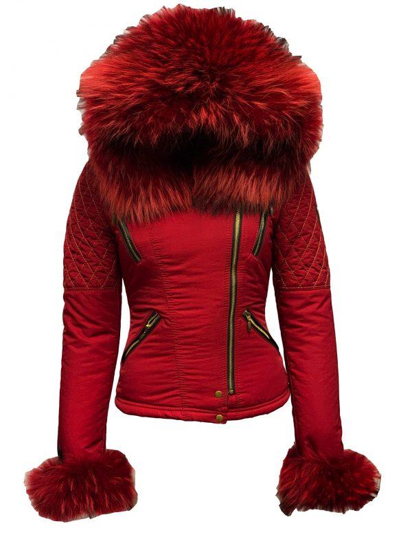 Dames jas met bontkraag rood-looise bestellen