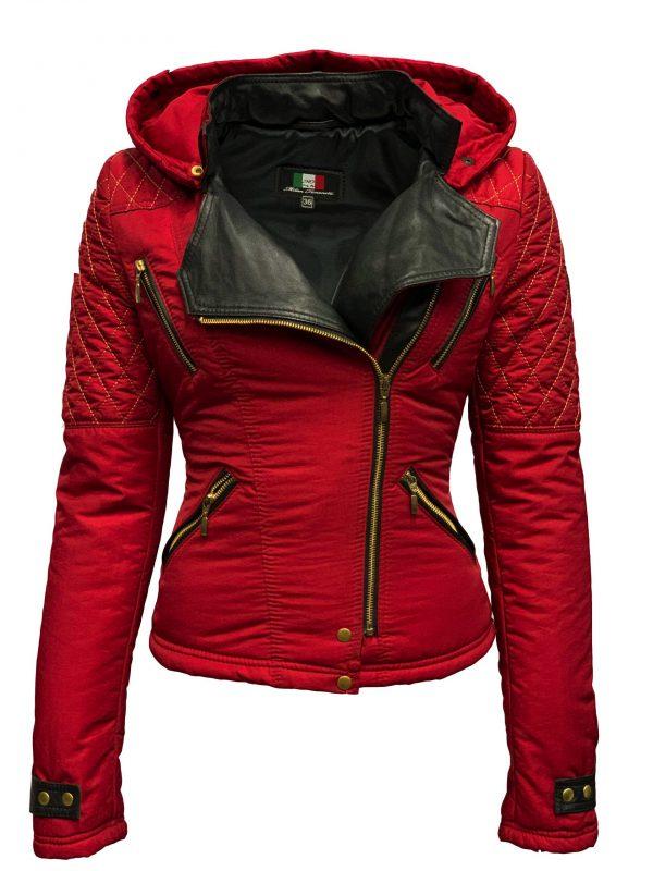 Dames kort jas biker  rood met bontkraag-Looise bestellen