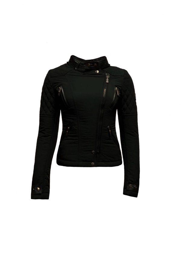 Zwart winter dames jas met afneembaar  bontkraag -Alecantti bestellen