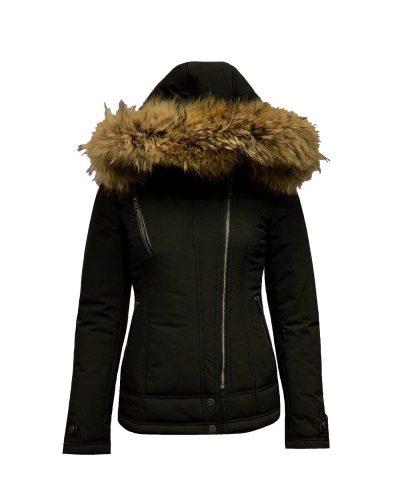 Zwarte dames winterjas met bontkraag-Bellismo bestellen