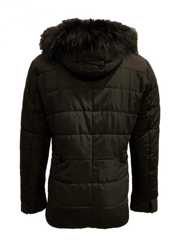 Winter heren jas met afneembaar bontkraag en capuchon zwart-Haarlem bestellen