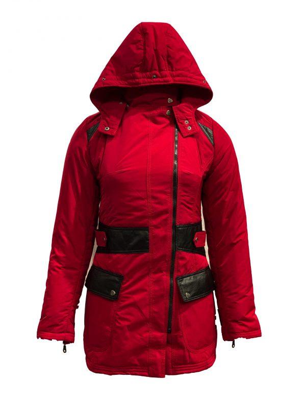 Rood dames winter jas met afneembaar bont en capuchon -Jolanda bestellen