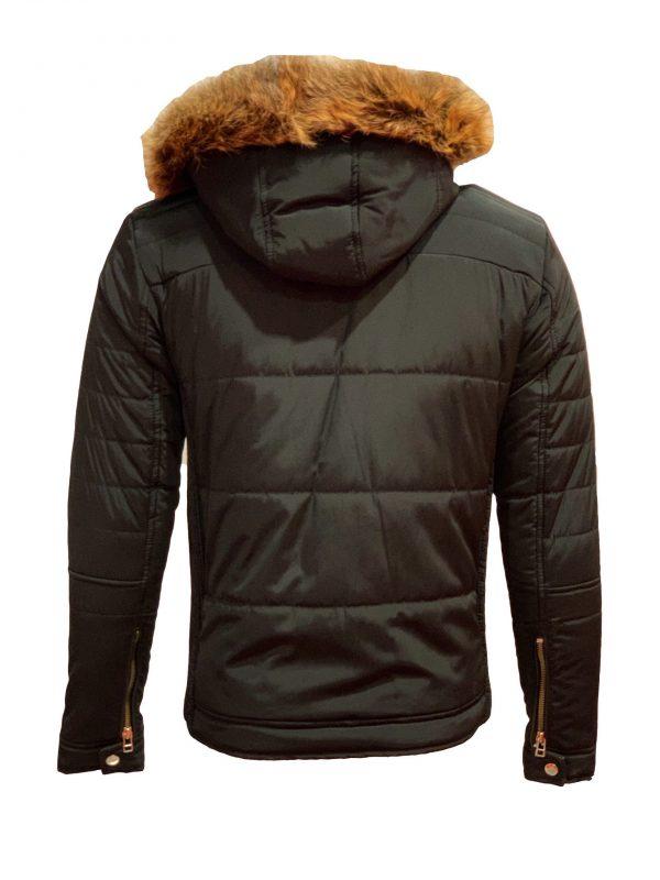 Heren zwarte winterjas met bontkraag -Koron bestellen