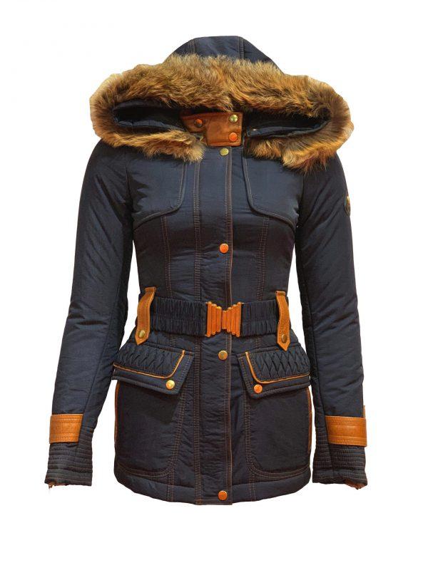 Dames jas met bontkraag en capuchon blauw-romana bestellen