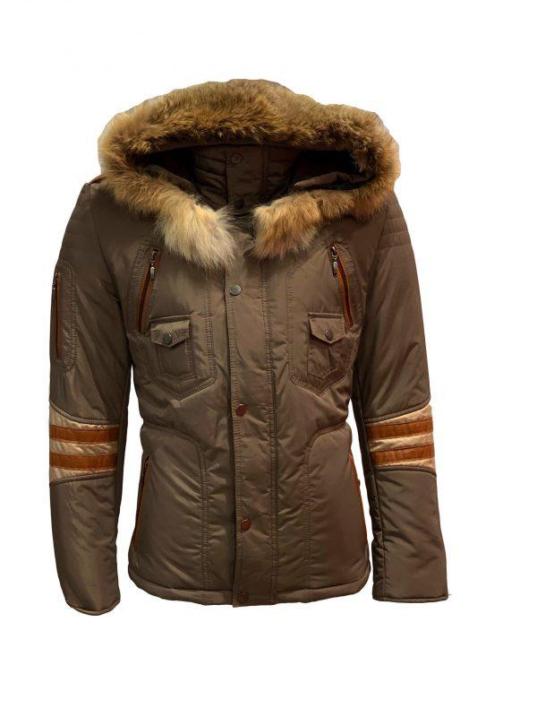 Heren jas met bontkraag beige cognac-lisans bestellen
