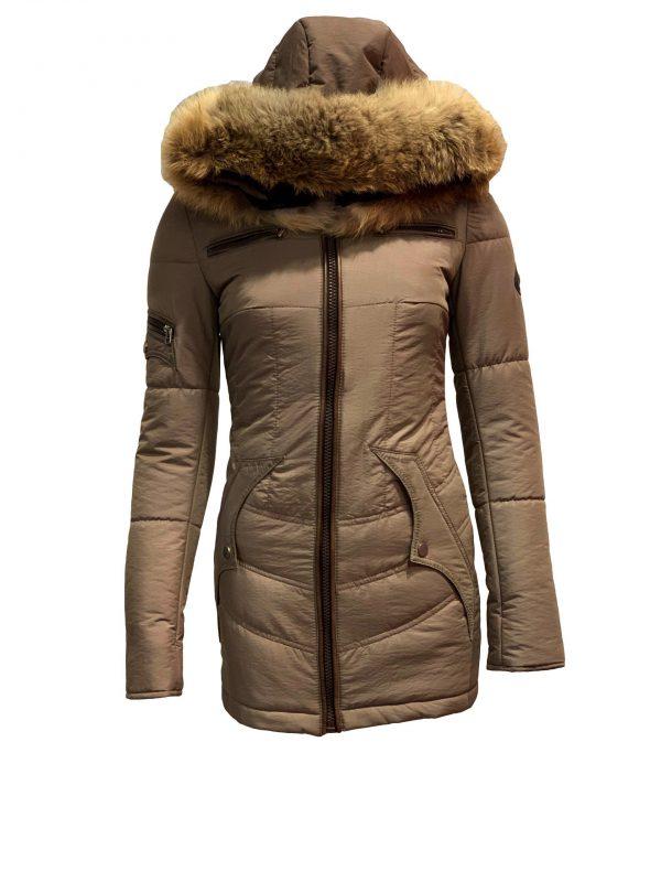 dames jas met capuchon en bontkraag taupe-Milou bestellen