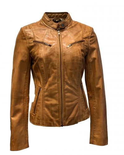 Kort cognac leren dames biker jas- Nude bestellen