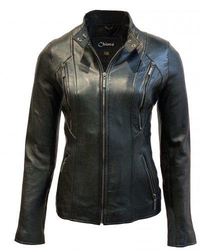 Leren dames jas kort met recht rits zwart-napoli bestellen