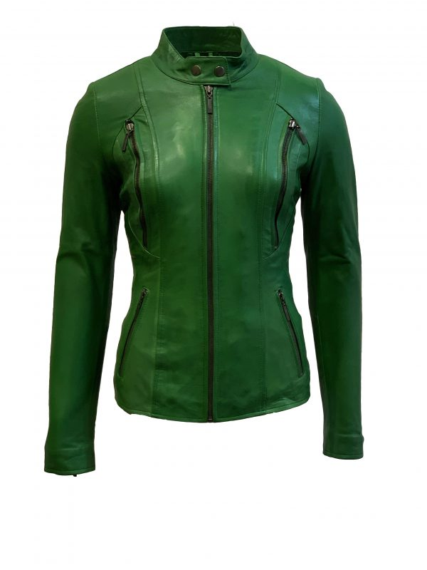 Leren jas dames groen-napoli bestellen