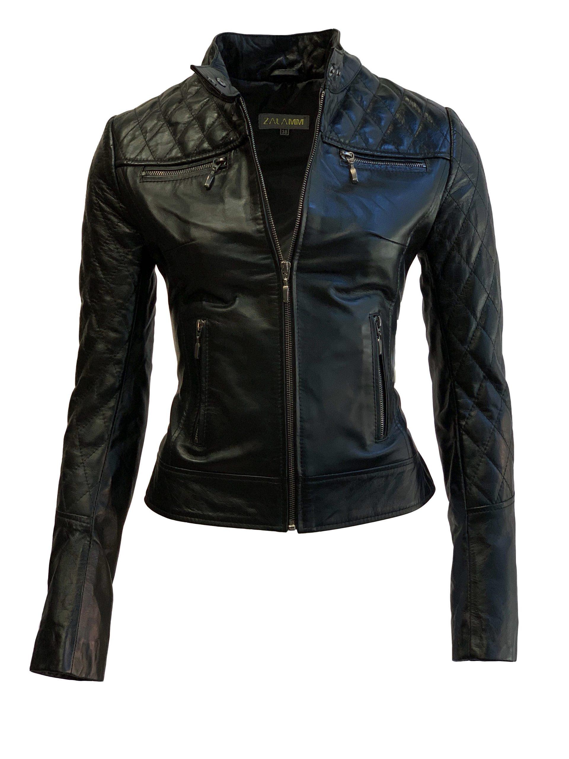 Biker leren jas dames zwart met hoge kraag 100% echt leder-damata