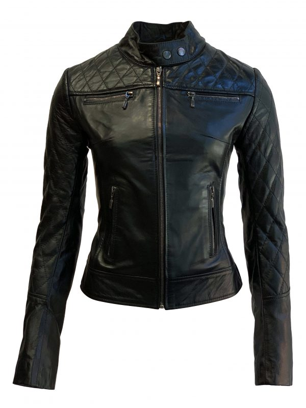 Biker leren jas dames zwart met hoge kraag 100% echt leder-damata bestellen