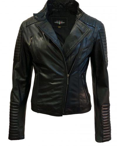 Dames biker jack zwart 100% echt leder-tamara bestellen