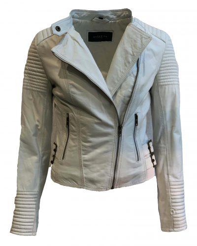Leren jas biker dames wit 100% echt leder-barcelona bestellen