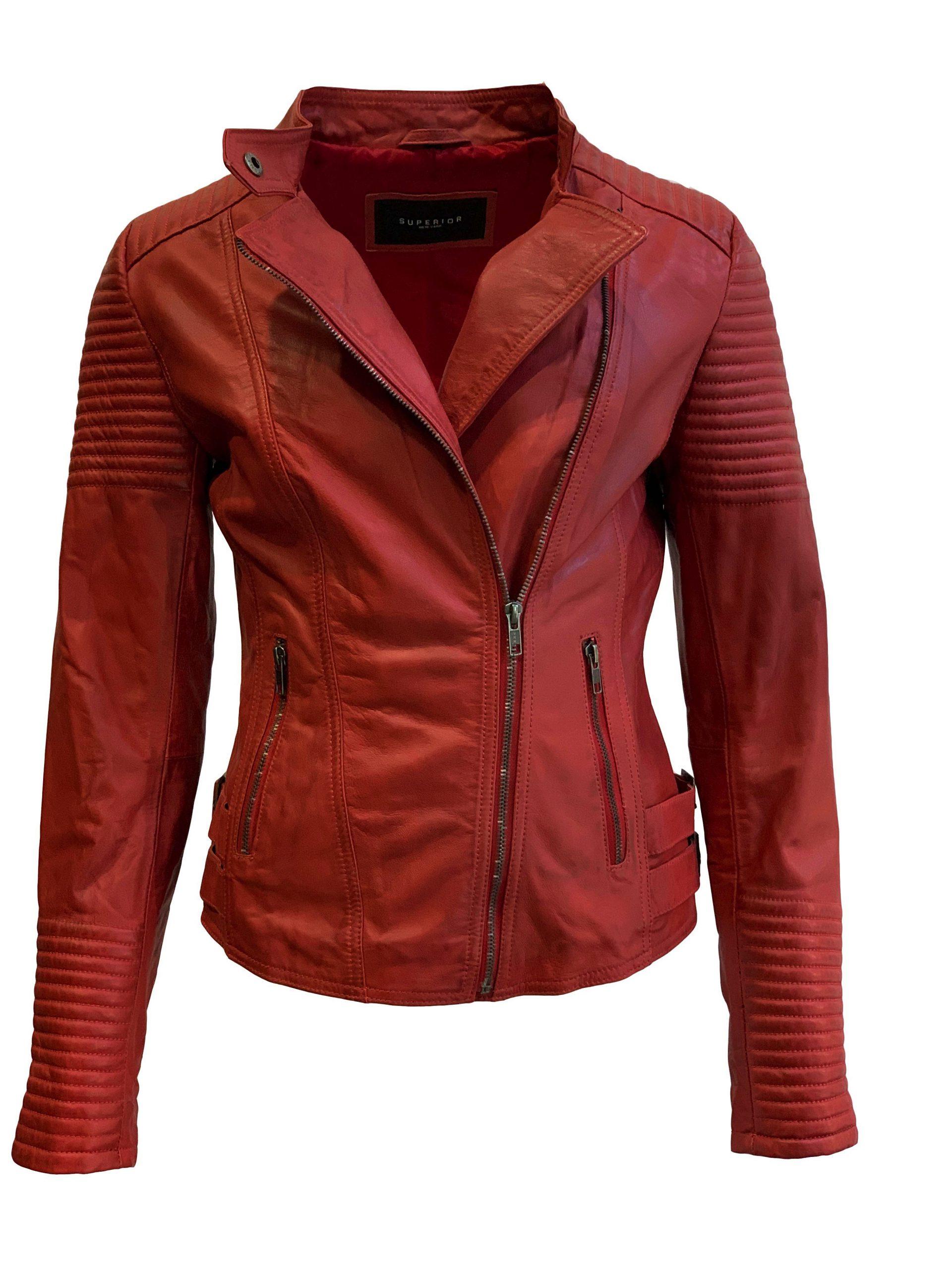 Leren jas dames biker rood 100% echt leder-barcelona