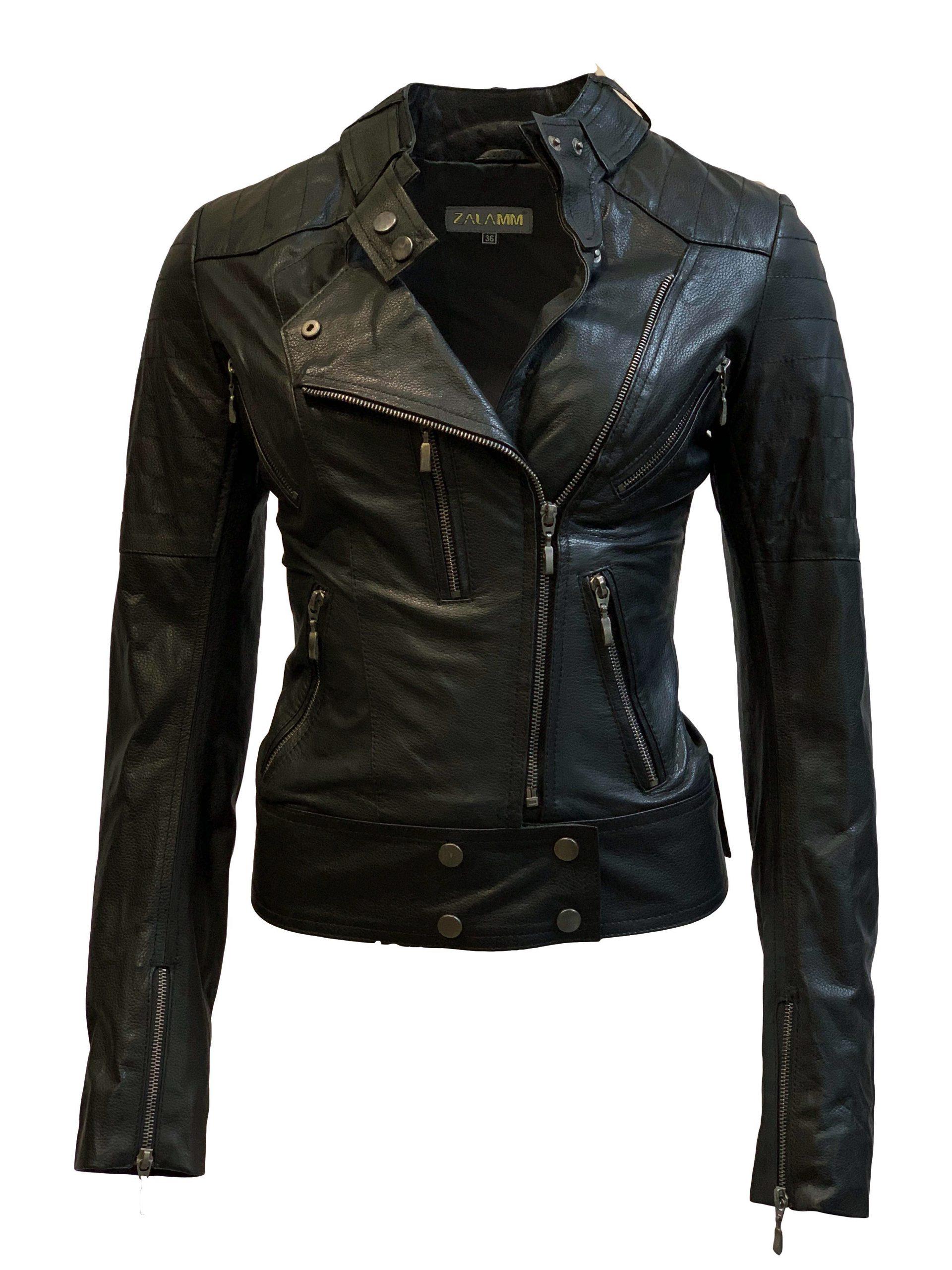 Leren jas dames zwart biker-noratto