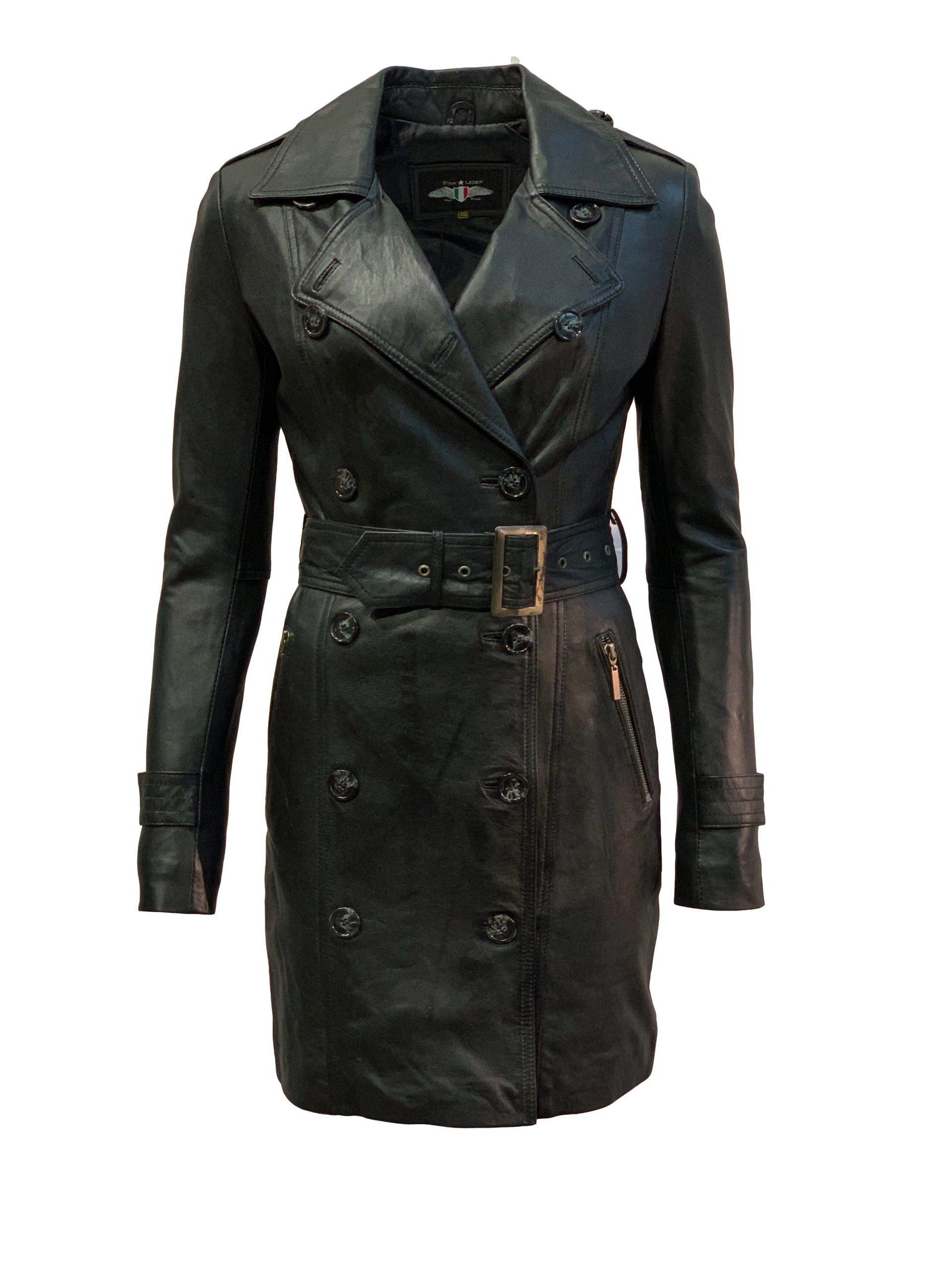 Leren jas dames zwart dubbel rijknopen-Almere
