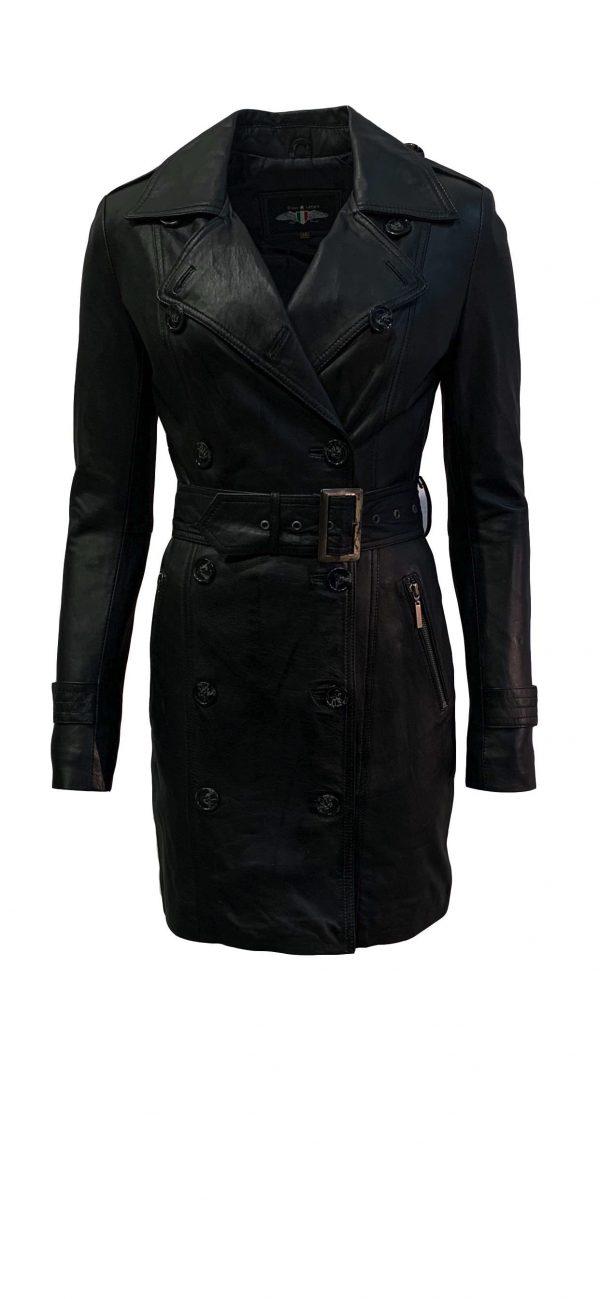 Leren jas dames zwart dubbel rijknopen-Almere bestellen