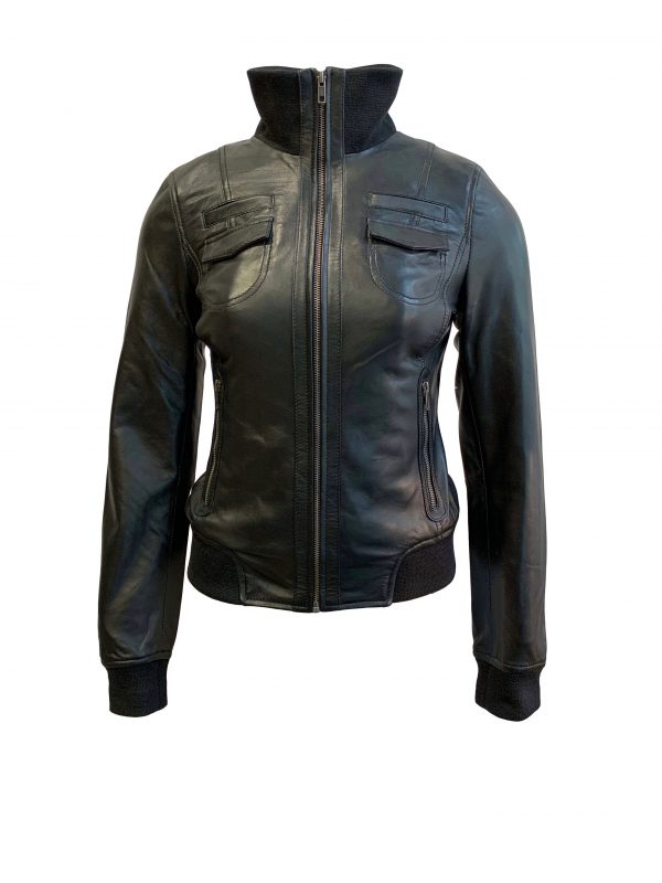 Leren bomber dames jas zwart- bomberdina bestellen