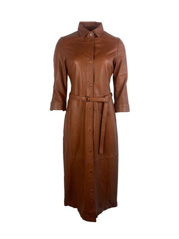 Lange dames leren jurk cognac- madam bestellen
