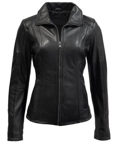 Dames leren jas zwart met recht rits-Bellito bestellen