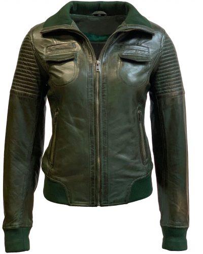 Leren jas dames bomber groen-roma bestellen